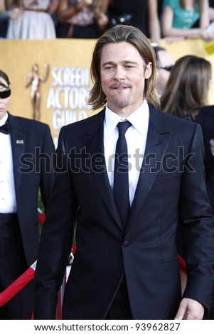 LOS ANGELES, CA - JAN 29: Brad Pitt at the 18th annual Screen Actor Guild Awards at the Shrine Auditorium on January 29, 2012 in Los Angeles, California - stock photo