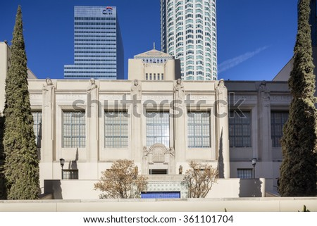 LOS ANGELES, CA - JAN. 11, 2016: Exterior of Los Angeles Central Library - stock photo