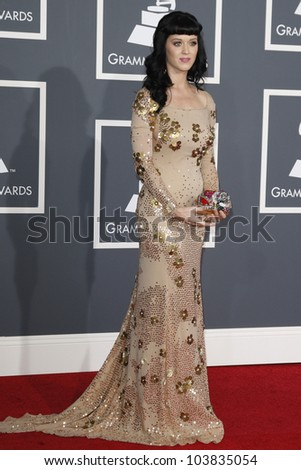 LOS ANGELES, CA - JAN 31: Katy Perry at the 52nd Annual GRAMMY Awards held at the Nokia Theater on January 31, 2010 in Los Angeles, California - stock photo