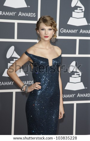 LOS ANGELES, CA - JAN 31: Taylor Swift at the 52nd Annual GRAMMY Awards held at the Nokia Theater on January 31, 2010 in Los Angeles, California - stock photo