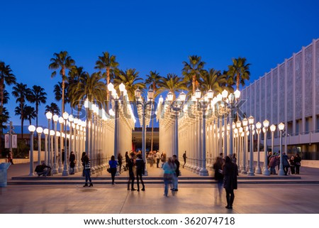LOS ANGELES, CA - JAN 9: 'Urban Light' is a large-scale assemblage sculpture by Chris Burden at the LACMA. The installation consists of 202 restored street lamps from the 20s & 30s Jan 9, 2016 in LA - stock photo