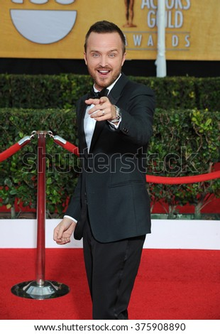 LOS ANGELES, CA - JANUARY 18, 2014: Aaron Paul at the 20th Annual Screen Actors Guild Awards at the Shrine Auditorium.