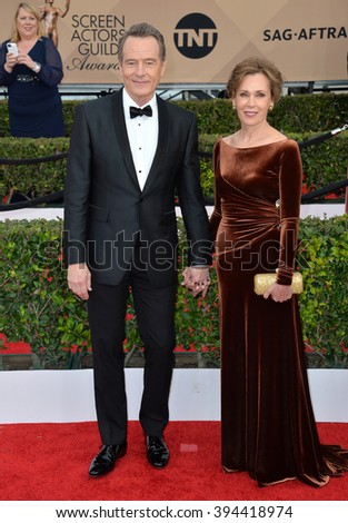 LOS ANGELES, CA - JANUARY 30, 2016: Actor Bryan Cranston & wife Robin Dearden at the 22nd Annual Screen Actors Guild Awards at the Shrine Auditorium - stock photo
