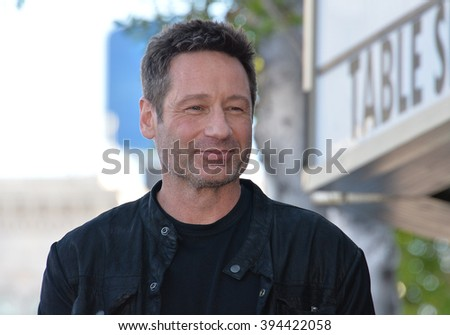 LOS ANGELES, CA - JANUARY 25, 2016: Actor David Duchovny on Hollywood Boulevard where he was honored with the 2,572nd star on the Hollywood Walk of Fame. - stock photo