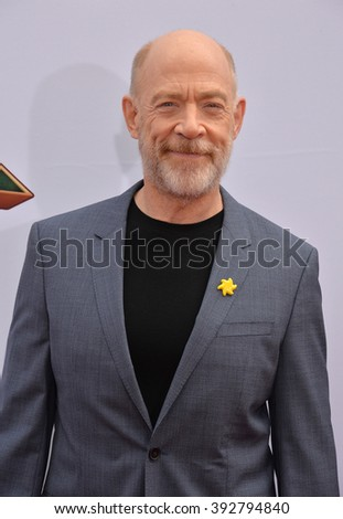 LOS ANGELES, CA - JANUARY 16, 2016: Actor JK Simmons at the world premiere of Kung Fu Panda 3 at the TCL Chinese Theatre, Hollywood. - stock photo