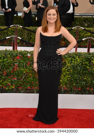 LOS ANGELES, CA - JANUARY 30, 2016: Actress Amy Poehler at the 22nd Annual Screen Actors Guild Awards at the Shrine Auditorium - stock photo