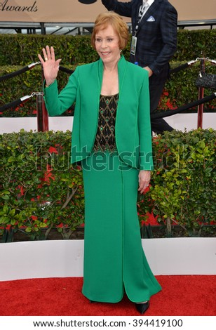 LOS ANGELES, CA - JANUARY 30, 2016: Actress Carol Burnett at the 22nd Annual Screen Actors Guild Awards at the Shrine Auditorium