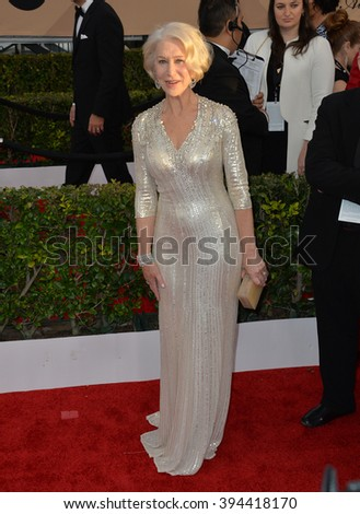 LOS ANGELES, CA - JANUARY 30, 2016: Actress Dame Helen Mirren at the 22nd Annual Screen Actors Guild Awards at the Shrine Auditorium - stock photo