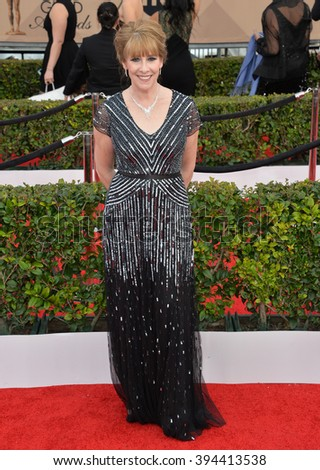 LOS ANGELES, CA - JANUARY 30, 2016: Actress Phyllis Logan - Downton Abbey - at the 22nd Annual Screen Actors Guild Awards at the Shrine Auditorium - stock photo