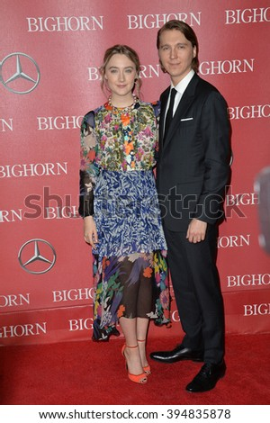 LOS ANGELES, CA - JANUARY 2, 2016: Actress Saoirse Ronan & actor Paul Dano at the 2016 Palm Springs International Film Festival Awards Gala - stock photo