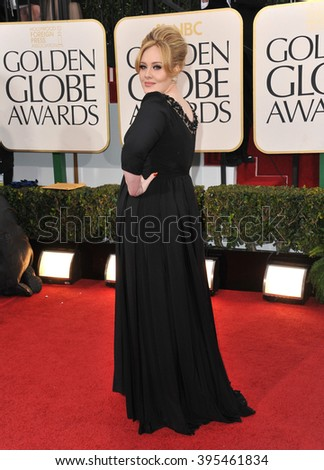LOS ANGELES, CA - JANUARY 13, 2013: Adele at the 70th Golden Globe Awards at the Beverly Hilton Hotel.
