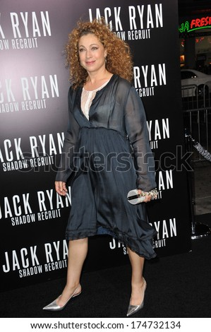 "LOS ANGELES, CA - JANUARY 15, 2014: Alex Kingston at the Los Angeles premiere of ""Jack Ryan: Shadow Recruit"" at the TCL Chinese Theatre, Hollywood."