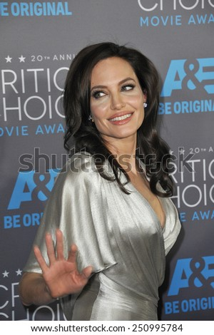 LOS ANGELES, CA - JANUARY 15, 2015: Angelina Jolie at the 20th Annual Critics' Choice Movie Awards at the Hollywood Palladium.  - stock photo