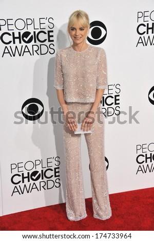 LOS ANGELES, CA - JANUARY 8, 2014: Anna Faris at the 2014 People's Choice Awards at the Nokia Theatre, LA Live.  - stock photo