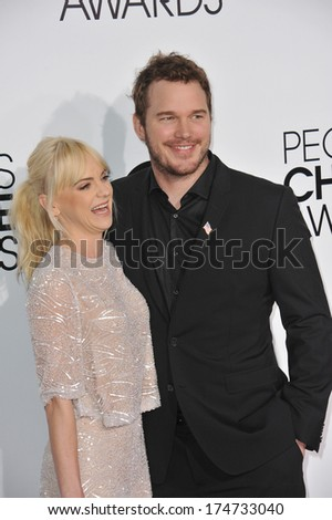 LOS ANGELES, CA - JANUARY 8, 2014: Anna Faris & husband Chris Pratt at the 2014 People's Choice Awards at the Nokia Theatre, LA Live.  - stock photo