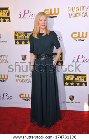 LOS ANGELES, CA - JANUARY 16, 2014: Cate Blanchett at the 19th Annual Critics' Choice Awards at The Barker Hangar, Santa Monica Airport.  - stock photo