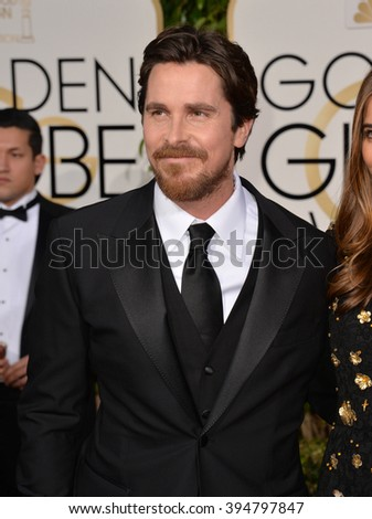 LOS ANGELES, CA - JANUARY 10, 2016: Christian Bale at the 73rd Annual Golden Globe Awards at the Beverly Hilton Hotel.