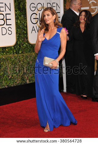 LOS ANGELES, CA - JANUARY 11, 2015: Cindy Crawford at the 72nd Annual Golden Globe Awards at the Beverly Hilton Hotel, Beverly Hills. - stock photo