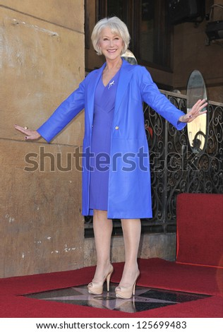 LOS ANGELES, CA - JANUARY 3, 2013: Dame Helen Mirren on Hollywood Boulevard where she was honored with the 2,488th star on the Hollywood Walk of Fame.