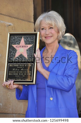 LOS ANGELES, CA - JANUARY 3, 2013: Dame Helen Mirren on Hollywood Boulevard where she was honored with the 2,488th star on the Hollywood Walk of Fame. - stock photo