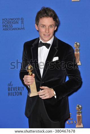 LOS ANGELES, CA - JANUARY 11, 2015: Eddie Redmayne at the 72nd Annual Golden Globe Awards at the Beverly Hilton Hotel, Beverly Hills. - stock photo