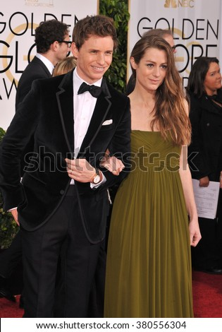 LOS ANGELES, CA - JANUARY 11, 2015: Eddie Redmayne & Hannah Bagshawe at the 72nd Annual Golden Globe Awards at the Beverly Hilton Hotel, Beverly Hills.