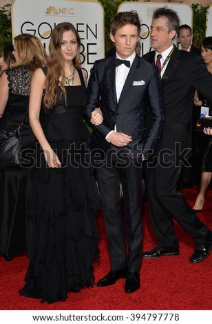 LOS ANGELES, CA - JANUARY 10, 2016: Eddie Redmayne & Hannah Bagshawe at the 73rd Annual Golden Globe Awards at the Beverly Hilton Hotel.