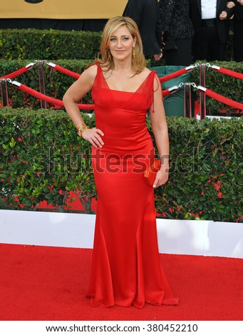LOS ANGELES, CA - JANUARY 25, 2015: Edie Falco at the 2015 Screen Actors Guild  Awards at the Shrine Auditorium.