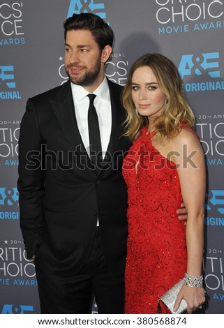 LOS ANGELES, CA - JANUARY 15, 2015: Emily Blunt & husband John Krasinski at the 20th Annual Critics' Choice Movie Awards at the Hollywood Palladium.