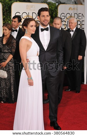 LOS ANGELES, CA - JANUARY 11, 2015: Emily Blunt & John Krasinski at the 72nd Annual Golden Globe Awards at the Beverly Hilton Hotel, Beverly Hills.