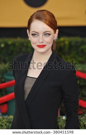 LOS ANGELES, CA - JANUARY 25, 2015: Emma Stone at the 2015 Screen Actors Guild  Awards at the Shrine Auditorium. - stock photo
