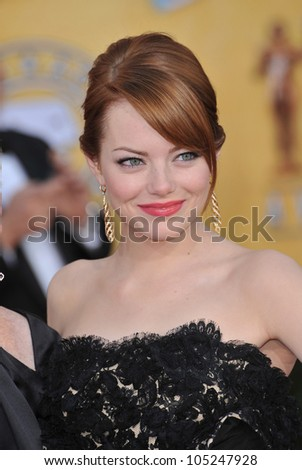 LOS ANGELES, CA - JANUARY 29, 2012: Emma Stone at the 17th Annual Screen Actors Guild Awards at the Shrine Auditorium, Los Angeles. January 29, 2012  Los Angeles, CA - stock photo