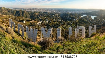 LOS ANGELES, CA - January 27, 2015: Famous Hollywood Sign white letters and Hollywood Hills, view from top of Mount Lee seen on January 27, 2015 in Los Angeles, California - stock photo