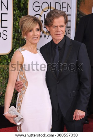 LOS ANGELES, CA - JANUARY 11, 2015: Felicity Huffman & William H. Macy at the 72nd Annual Golden Globe Awards at the Beverly Hilton Hotel, Beverly Hills. - stock photo