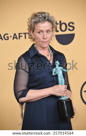 LOS ANGELES, CA - JANUARY 25, 2015: Frances McDormand at the 2015 Screen Actors Guild  Awards at the Shrine Auditorium.  - stock photo