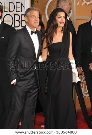 LOS ANGELES, CA - JANUARY 11, 2015: George Clooney & Amal Alamuddin Clooney at the 72nd Annual Golden Globe Awards at the Beverly Hilton Hotel, Beverly Hills.