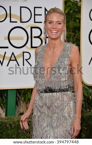LOS ANGELES, CA - JANUARY 10, 2016: Heidi Klum at the 73rd Annual Golden Globe Awards at the Beverly Hilton Hotel.
