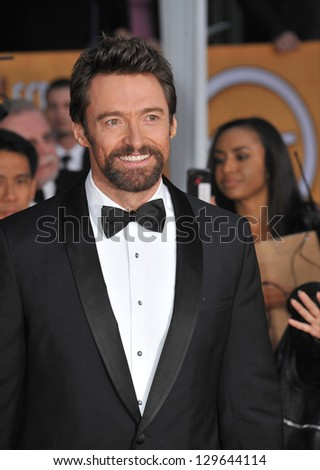 LOS ANGELES, CA - JANUARY 27, 2013: Hugh Jackman at the 19th Annual Screen Actors Guild Awards at the Shrine Auditorium, Los Angeles. - stock photo