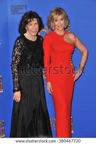 LOS ANGELES, CA - JANUARY 11, 2015: Jane Fonda & Lily Tomlin at the 72nd Annual Golden Globe Awards at the Beverly Hilton Hotel, Beverly Hills. - stock photo