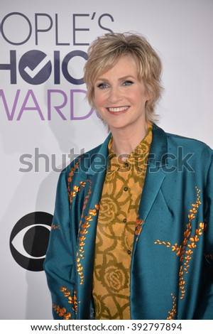LOS ANGELES, CA - JANUARY 6, 2016: Jane Lynch at the People's Choice Awards 2016 at the Microsoft Theatre LA Live. - stock photo