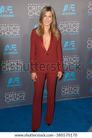 LOS ANGELES, CA - JANUARY 15, 2015: Jennifer Aniston at the 20th Annual Critics' Choice Movie Awards at the Hollywood Palladium. - stock photo