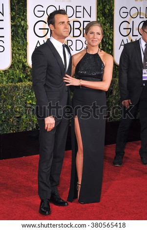 LOS ANGELES, CA - JANUARY 11, 2015: Jennifer Aniston & Justin Theroux at the 72nd Annual Golden Globe Awards at the Beverly Hilton Hotel, Beverly Hills.