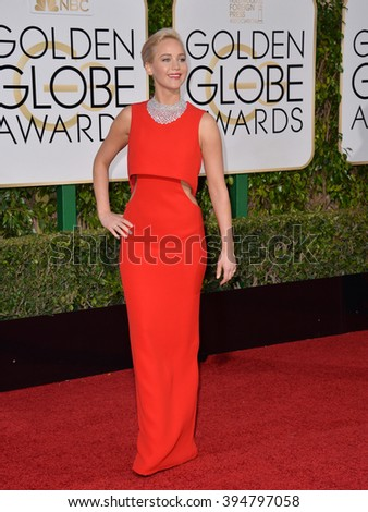 LOS ANGELES, CA - JANUARY 10, 2016: Jennifer Lawrence at the 73rd Annual Golden Globe Awards at the Beverly Hilton Hotel.