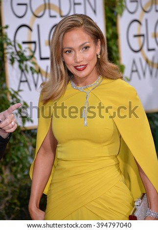 LOS ANGELES, CA - JANUARY 10, 2016: Jennifer Lopez at the 73rd Annual Golden Globe Awards at the Beverly Hilton Hotel.