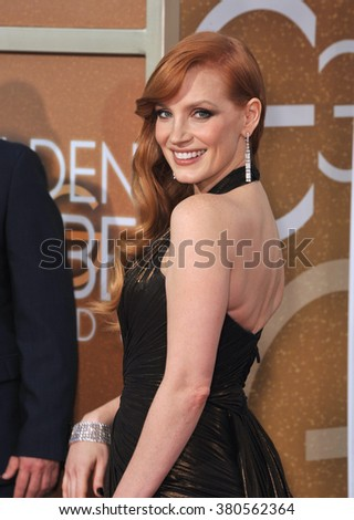 LOS ANGELES, CA - JANUARY 11, 2015: Jessica Chastain at the 72nd Annual Golden Globe Awards at the Beverly Hilton Hotel, Beverly Hills. - stock photo