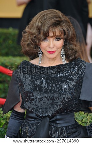 LOS ANGELES, CA - JANUARY 25, 2015: Joan Collins at the 2015 Screen Actors Guild  Awards at the Shrine Auditorium.  - stock photo
