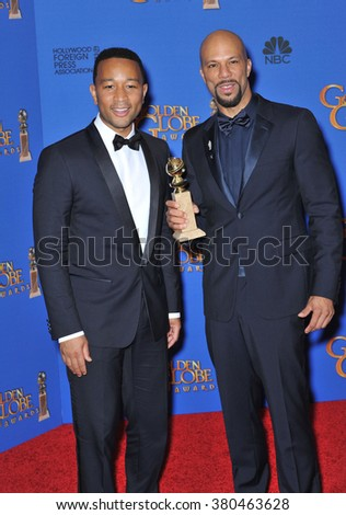 LOS ANGELES, CA - JANUARY 11, 2015: John Legend & Common at the 72nd Annual Golden Globe Awards at the Beverly Hilton Hotel, Beverly Hills.
