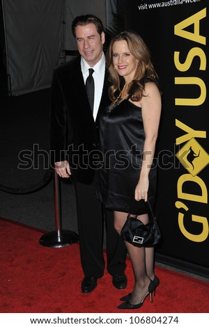 LOS ANGELES, CA - JANUARY 22, 2011: John Travolta & Kelly Preston at the 2011 G'Day USA Black Tie Gala at the Hollywood Palladium. January 22, 2011  Los Angeles, CA - stock photo