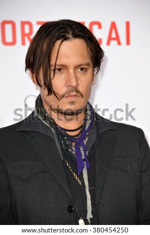 """LOS ANGELES, CA - JANUARY 21, 2015: Johnny Depp at the Los Angeles premiere of his movie """"Mortdecai"""" at the TCL Chinese Theatre, Hollywood. - stock photo"""