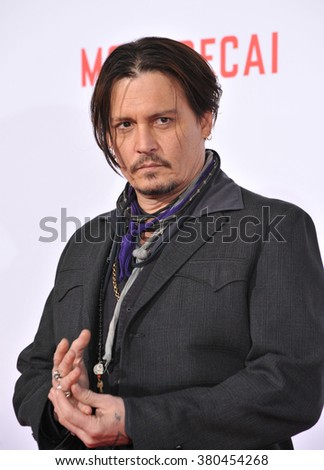 "LOS ANGELES, CA - JANUARY 21, 2015: Johnny Depp at the Los Angeles premiere of his movie ""Mortdecai"" at the TCL Chinese Theatre, Hollywood. - stock photo"